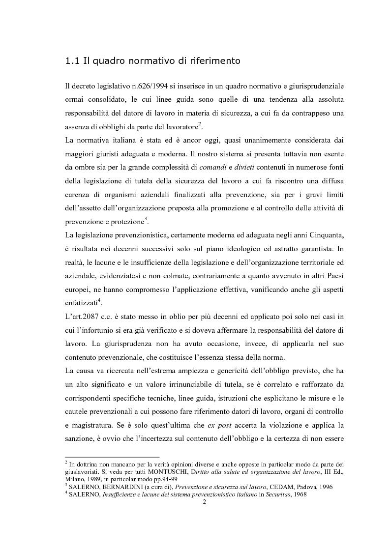 Anteprima della tesi: Gli obblighi del d.lgs 626/94: i soggetti innovativi, Pagina 5