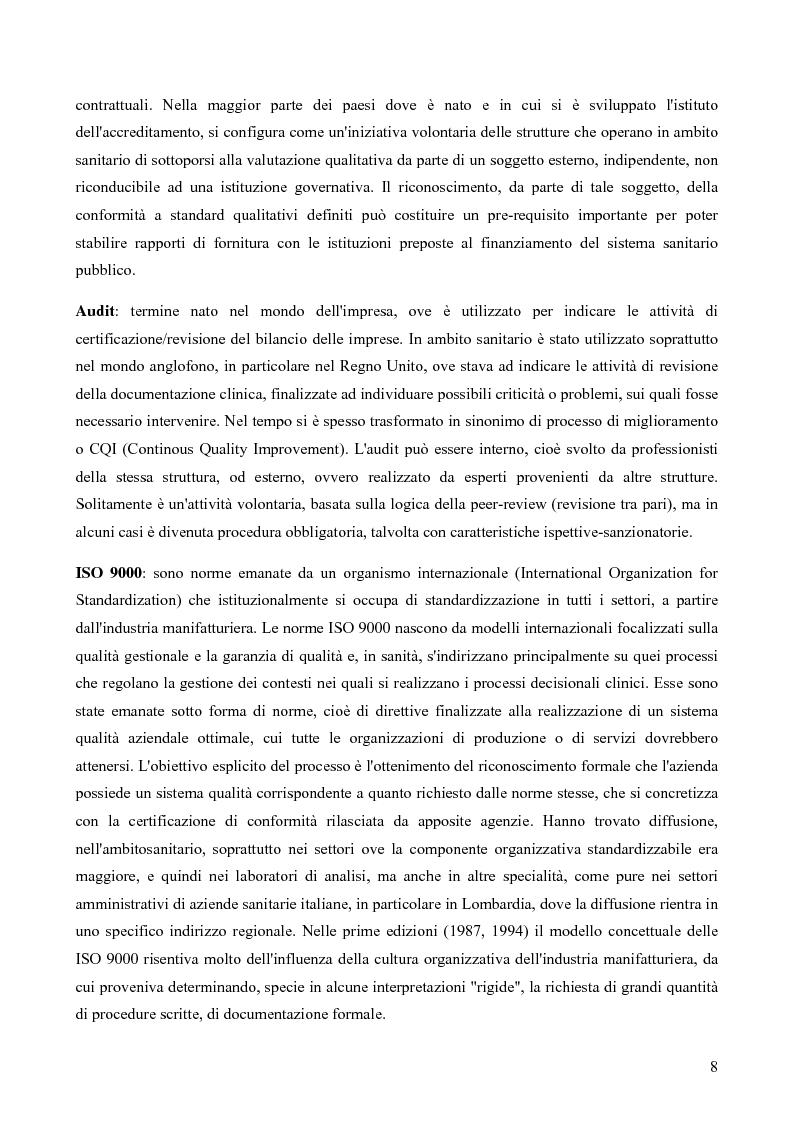 Anteprima della tesi: Il Quality System nel Sistema Sanitario Italiano: L'accreditamento Istituzionale delle strutture sanitarie EX D.LGS. N.229/1999 nel sistema regionale: un approccio giusoperativo, Pagina 4