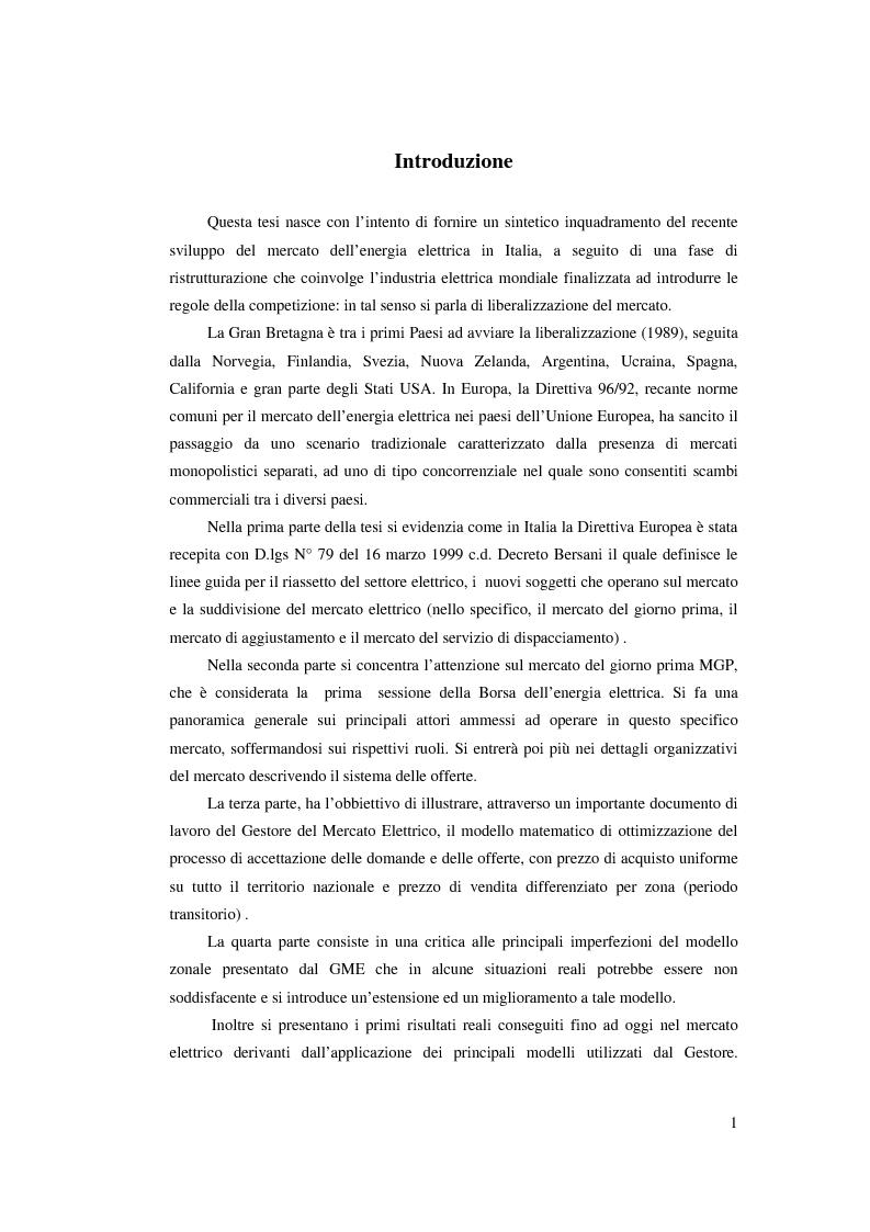 Anteprima della tesi: Evoluzione del Sistema Elettrico Nazionale e analisi di modelli di ottimizzazione applicati al mercato dell'energia elettrica, Pagina 1