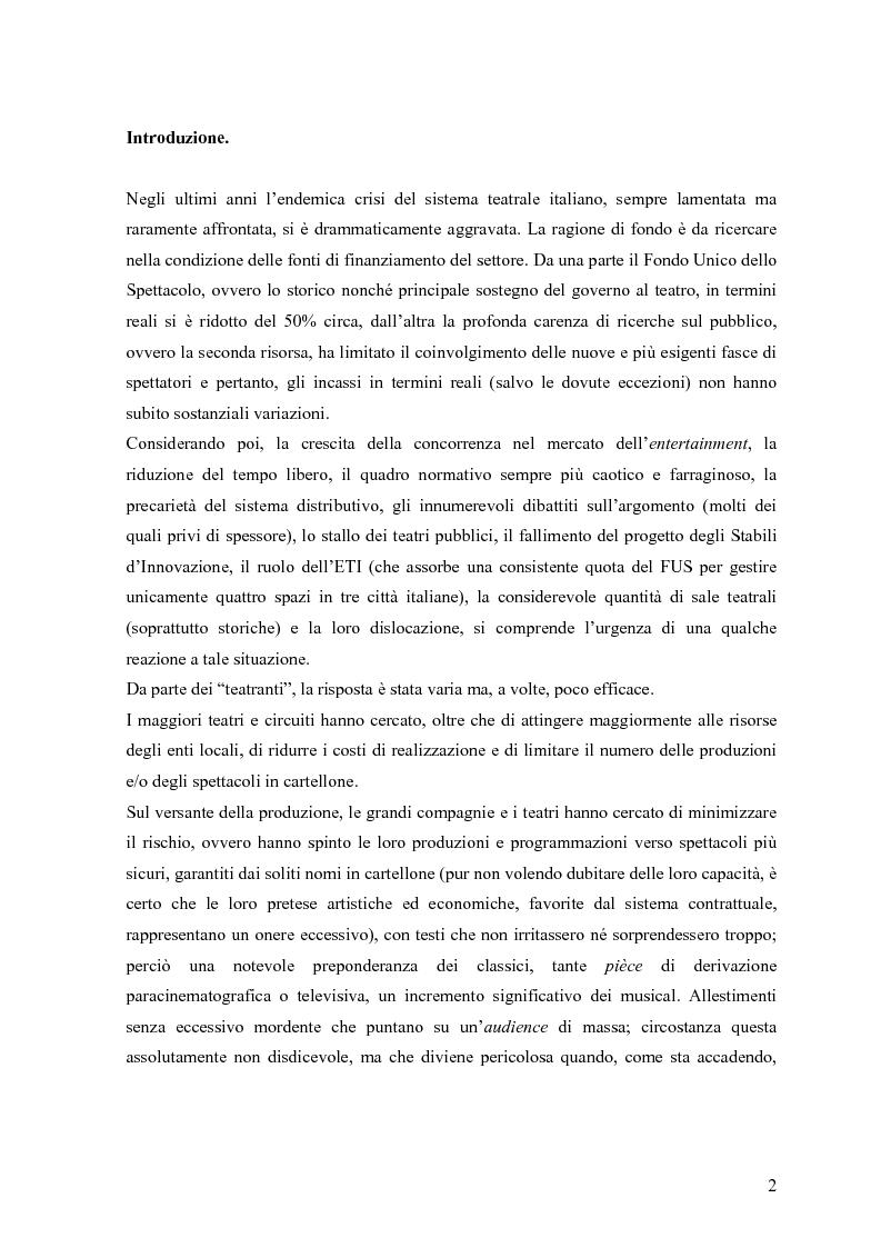 Anteprima della tesi: Marketing teatrale tra cultura e mercato. Alcuni casi empirici., Pagina 1