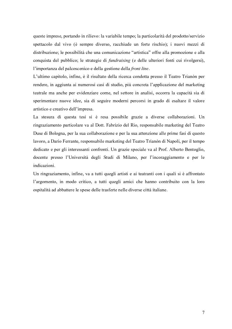 Anteprima della tesi: Marketing teatrale tra cultura e mercato. Alcuni casi empirici., Pagina 6