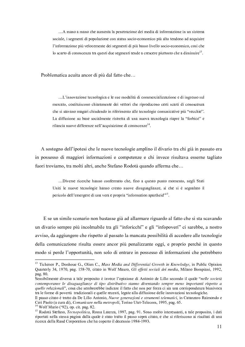 Anteprima della tesi: Nuove tecnologie e nuovi diritti. Democrazia, servizi, tutela degli spazi pubblici ai tempi di internet, Pagina 11
