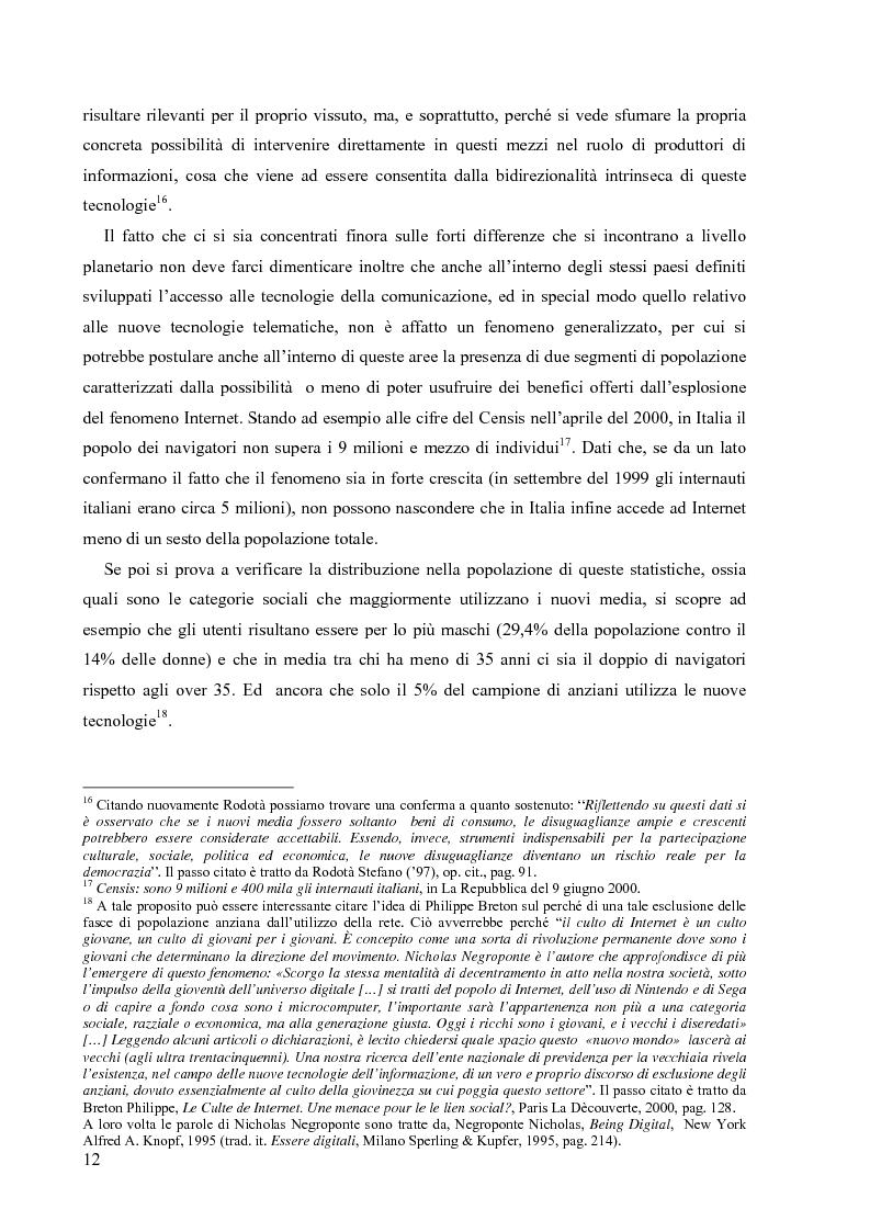 Anteprima della tesi: Nuove tecnologie e nuovi diritti. Democrazia, servizi, tutela degli spazi pubblici ai tempi di internet, Pagina 12