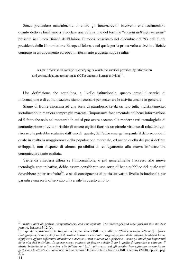 Anteprima della tesi: Nuove tecnologie e nuovi diritti. Democrazia, servizi, tutela degli spazi pubblici ai tempi di internet, Pagina 14