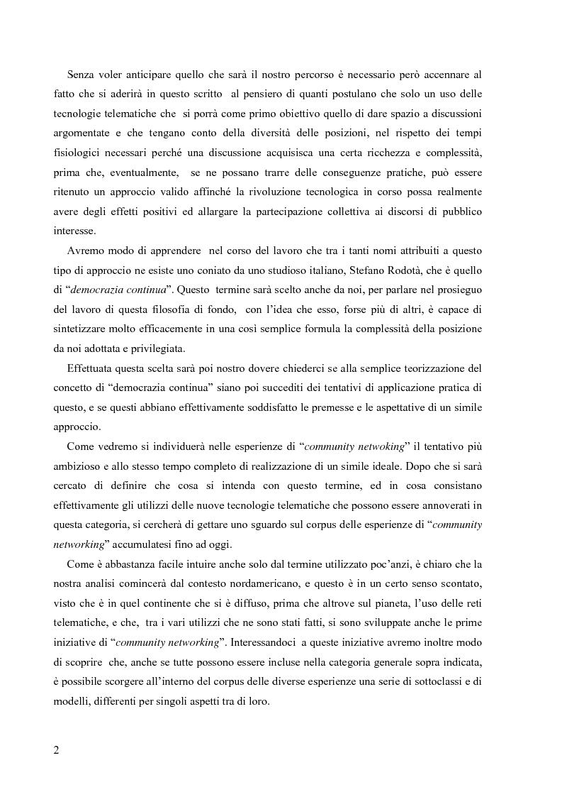 Anteprima della tesi: Nuove tecnologie e nuovi diritti. Democrazia, servizi, tutela degli spazi pubblici ai tempi di internet, Pagina 2