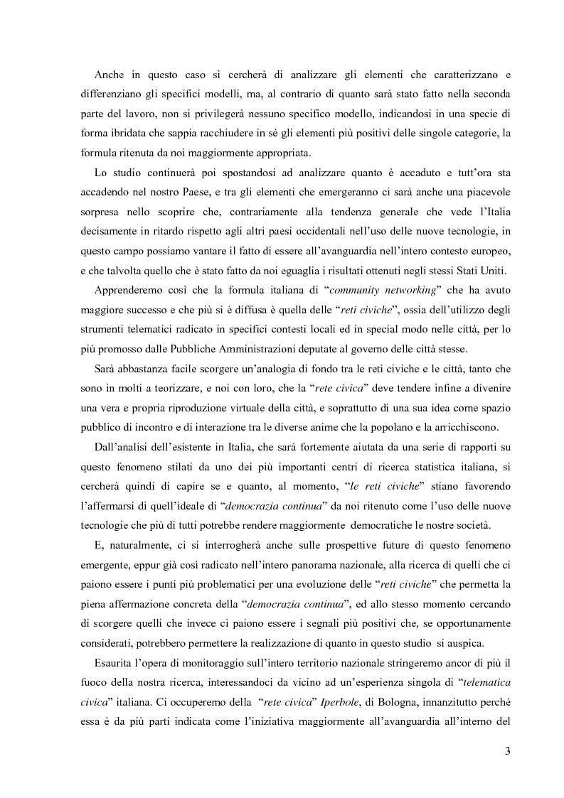Anteprima della tesi: Nuove tecnologie e nuovi diritti. Democrazia, servizi, tutela degli spazi pubblici ai tempi di internet, Pagina 3