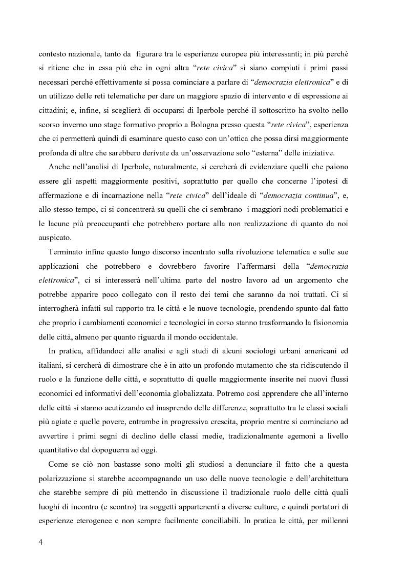 Anteprima della tesi: Nuove tecnologie e nuovi diritti. Democrazia, servizi, tutela degli spazi pubblici ai tempi di internet, Pagina 4