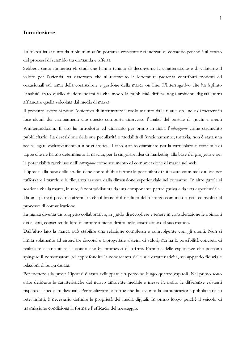 Anteprima della tesi: Quando il sito è vincente. Il caso di Winnerland.com, Pagina 1