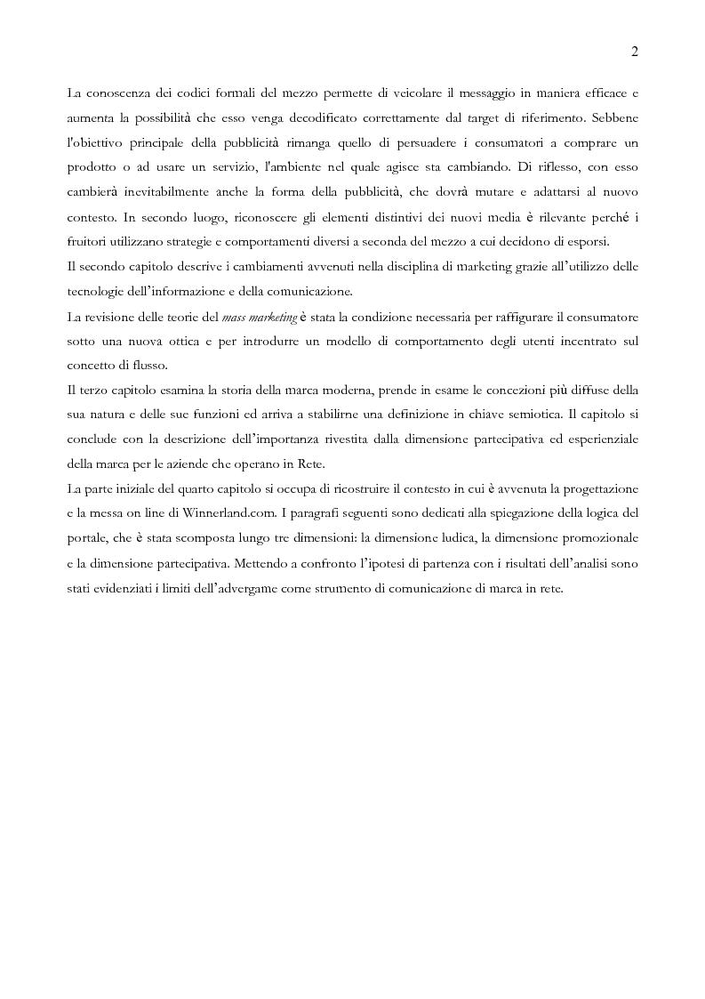 Anteprima della tesi: Quando il sito è vincente. Il caso di Winnerland.com, Pagina 2