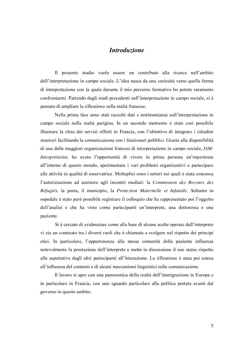 Anteprima della tesi: L'interpretazione in campo sociale: analisi di un'esperienza parigina, Pagina 1