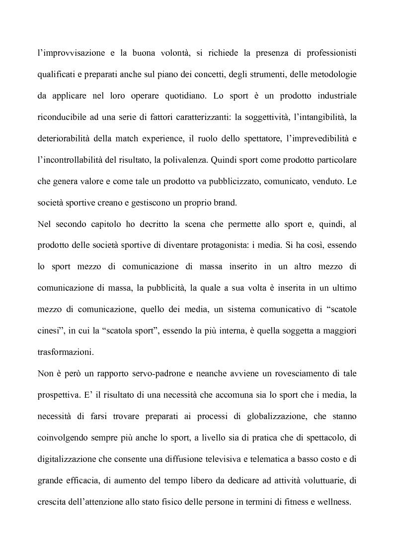 Anteprima della tesi: Sport & Business un matrimonio di interesse: la comunicazione nel marketing sportivo: i casi A.C.Milan e Teramo Basket, Pagina 2