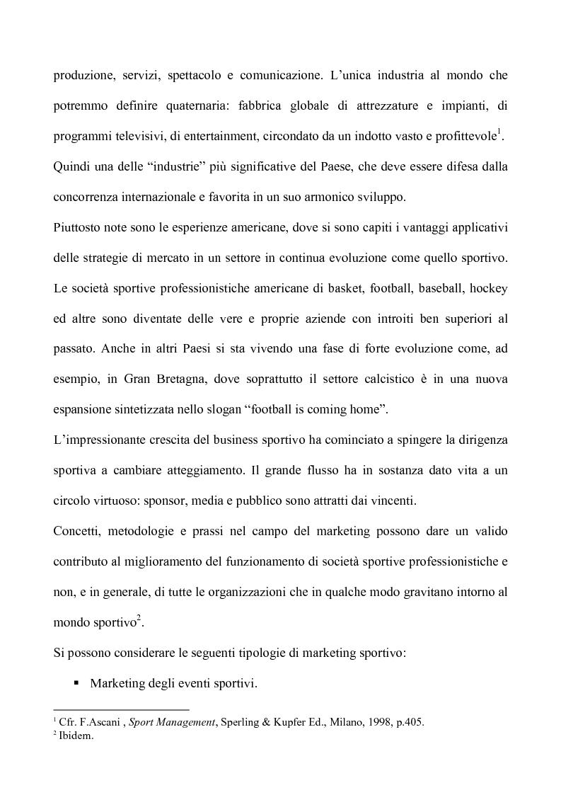 Anteprima della tesi: Sport & Business un matrimonio di interesse: la comunicazione nel marketing sportivo: i casi A.C.Milan e Teramo Basket, Pagina 6
