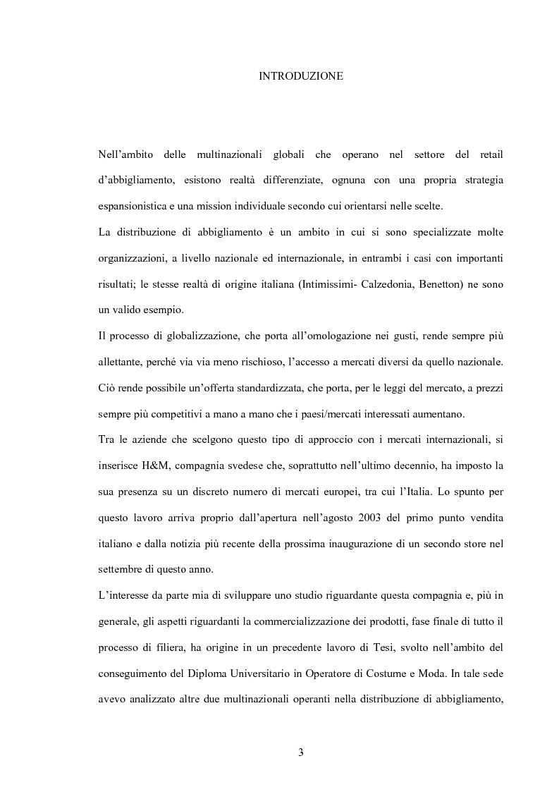 Anteprima della tesi: L'organizzazione della distribuzione in un'impresa del settore moda. Il caso Hennes & Mauritz., Pagina 1
