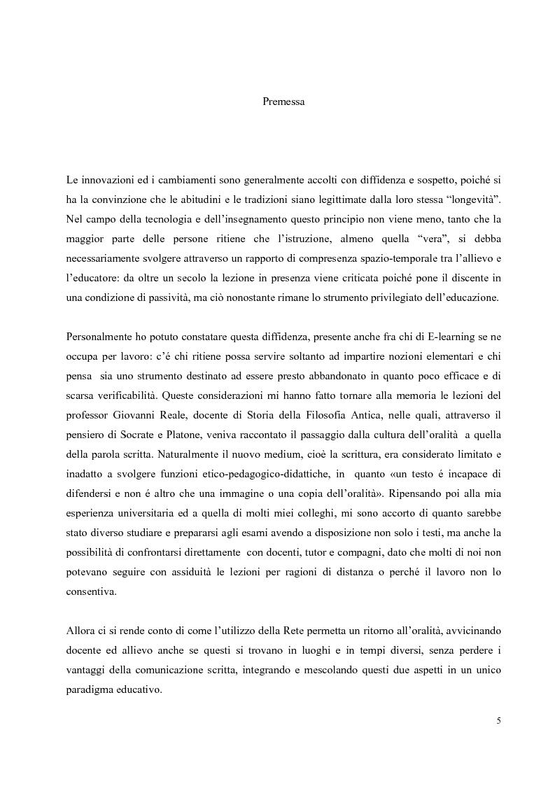 Anteprima della tesi: Didattica on-line e formazione universitaria: progettazione e realizzazione di un corso, Pagina 1