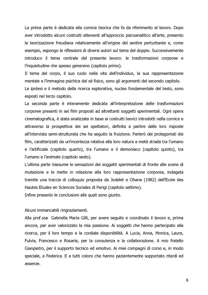 Anteprima della tesi: Un Corpo Altro - Il perturbante delle trasformazioni corporee nel cinema, Pagina 2