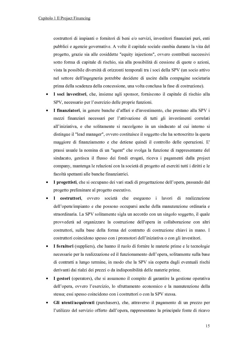 Anteprima della tesi: La valutazione economico-finanziaria nel project financing. Il caso Parco Millennium del Canavese, Pagina 10