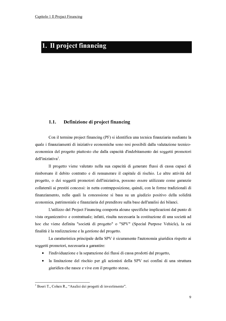 Anteprima della tesi: La valutazione economico-finanziaria nel project financing. Il caso Parco Millennium del Canavese, Pagina 4