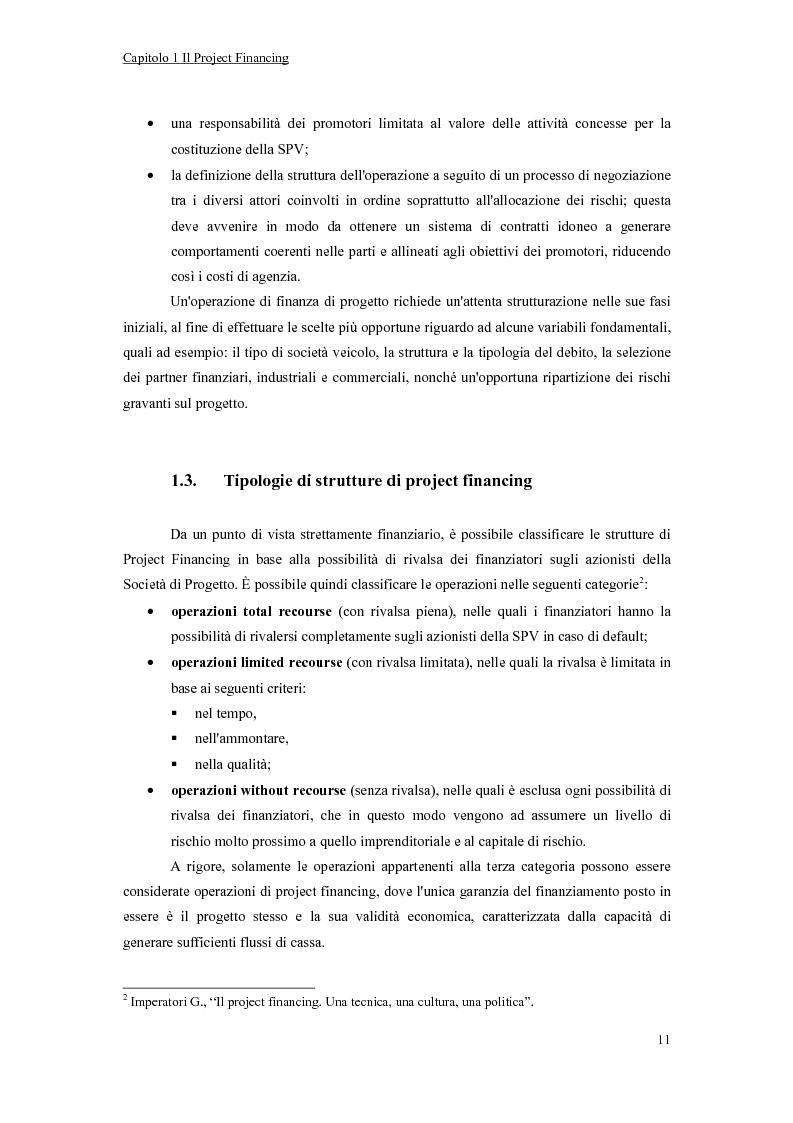 Anteprima della tesi: La valutazione economico-finanziaria nel project financing. Il caso Parco Millennium del Canavese, Pagina 6