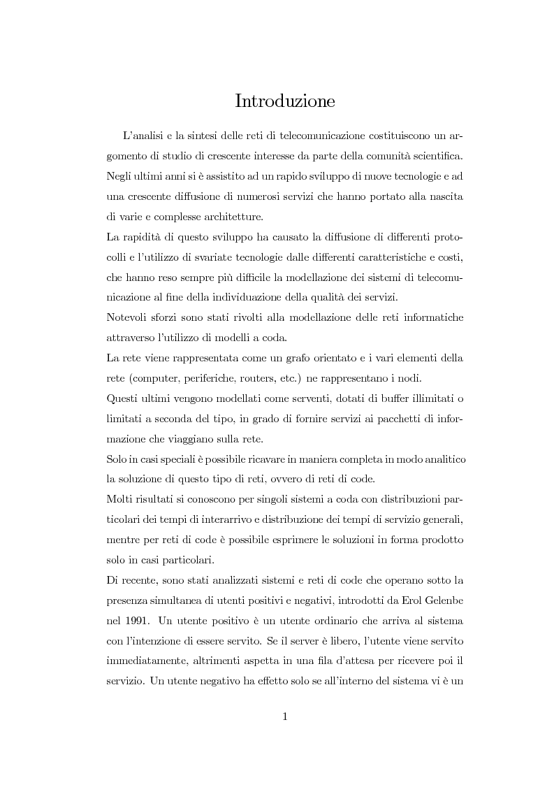 Anteprima della tesi: Modellazione di reti di telecomunicazioni: reti tandem con utenti negativi, perdite e bloccaggio., Pagina 1