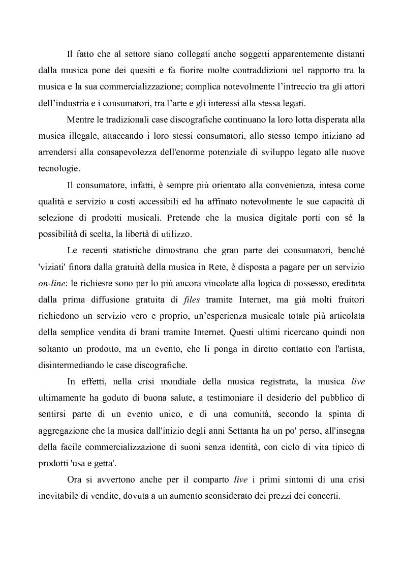 Anteprima della tesi: Crisi e cambiamenti nel settore fonografico. Impatto su fruitori e distributori di musica, Pagina 2