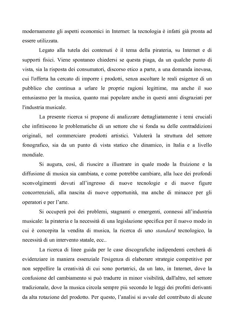 Anteprima della tesi: Crisi e cambiamenti nel settore fonografico. Impatto su fruitori e distributori di musica, Pagina 4