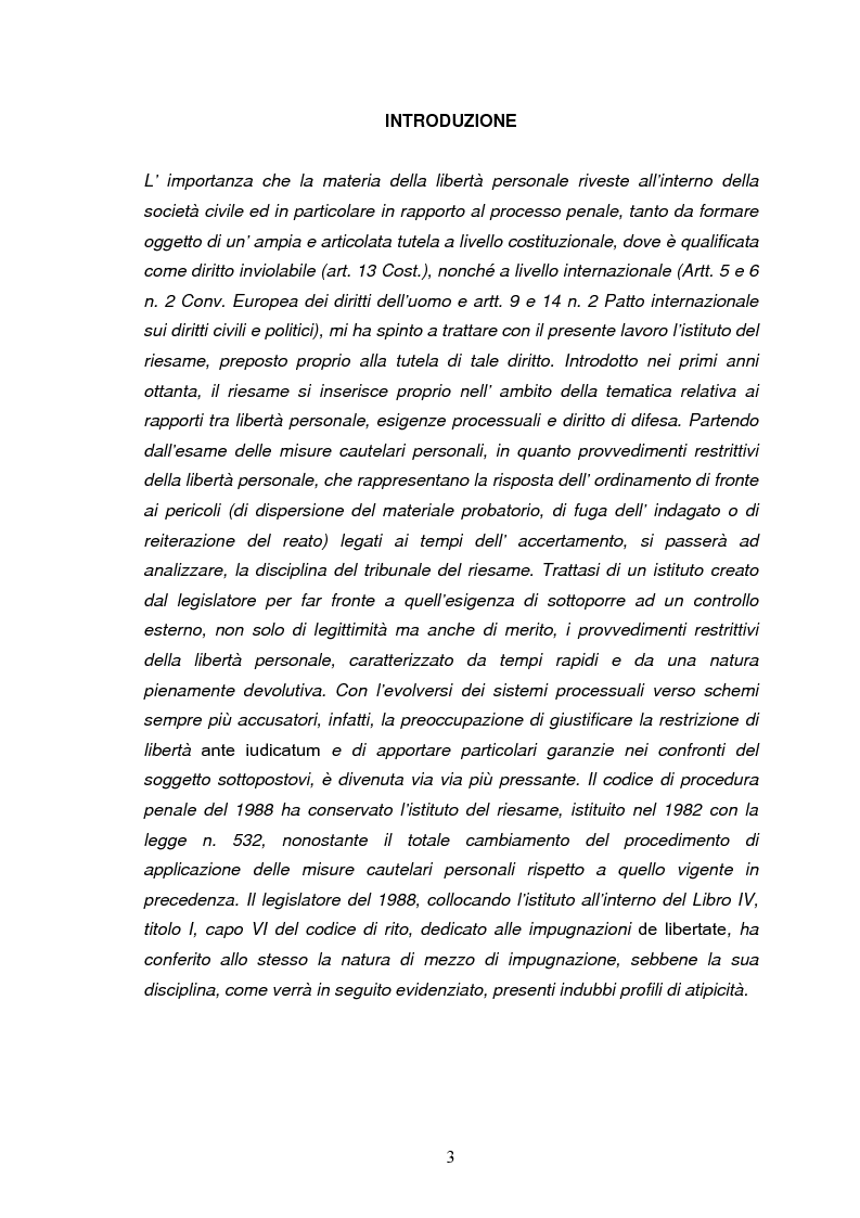 Anteprima della tesi: Il tribunale del riesame, Pagina 1