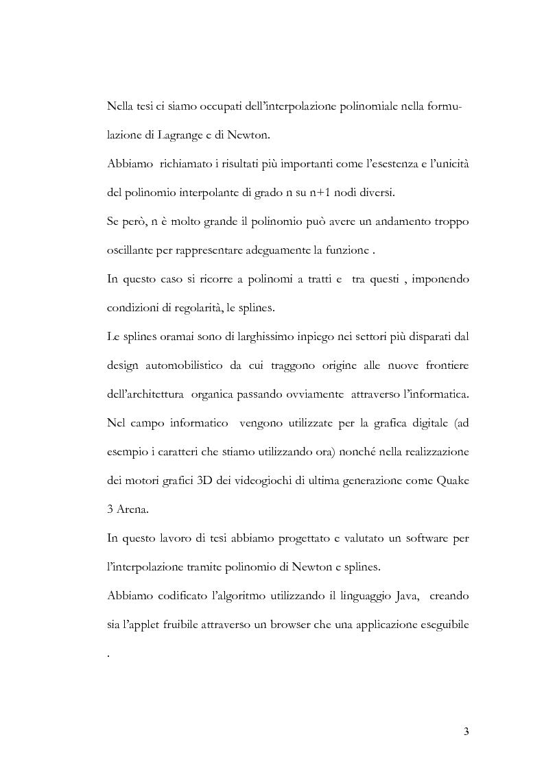 Anteprima della tesi: Progettazione e valutazione di una applicazione ed un applet Java per l'interpolazione polinomiale, Pagina 2