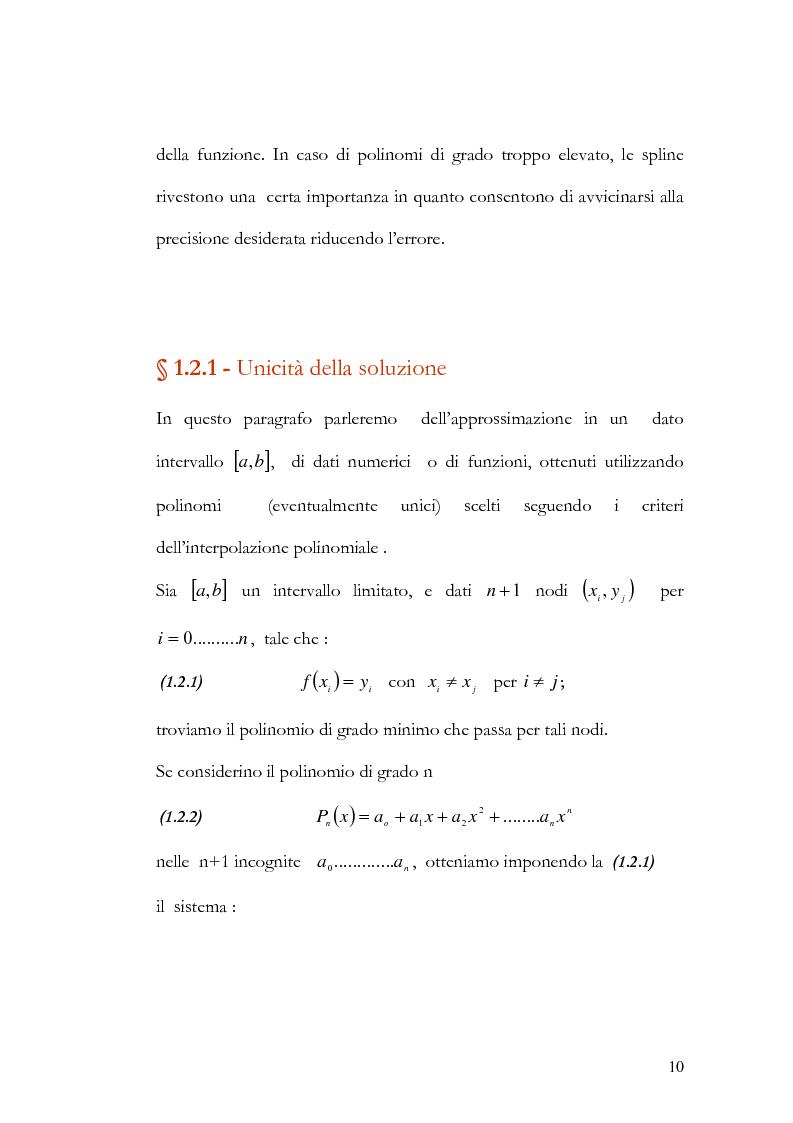Anteprima della tesi: Progettazione e valutazione di una applicazione ed un applet Java per l'interpolazione polinomiale, Pagina 9