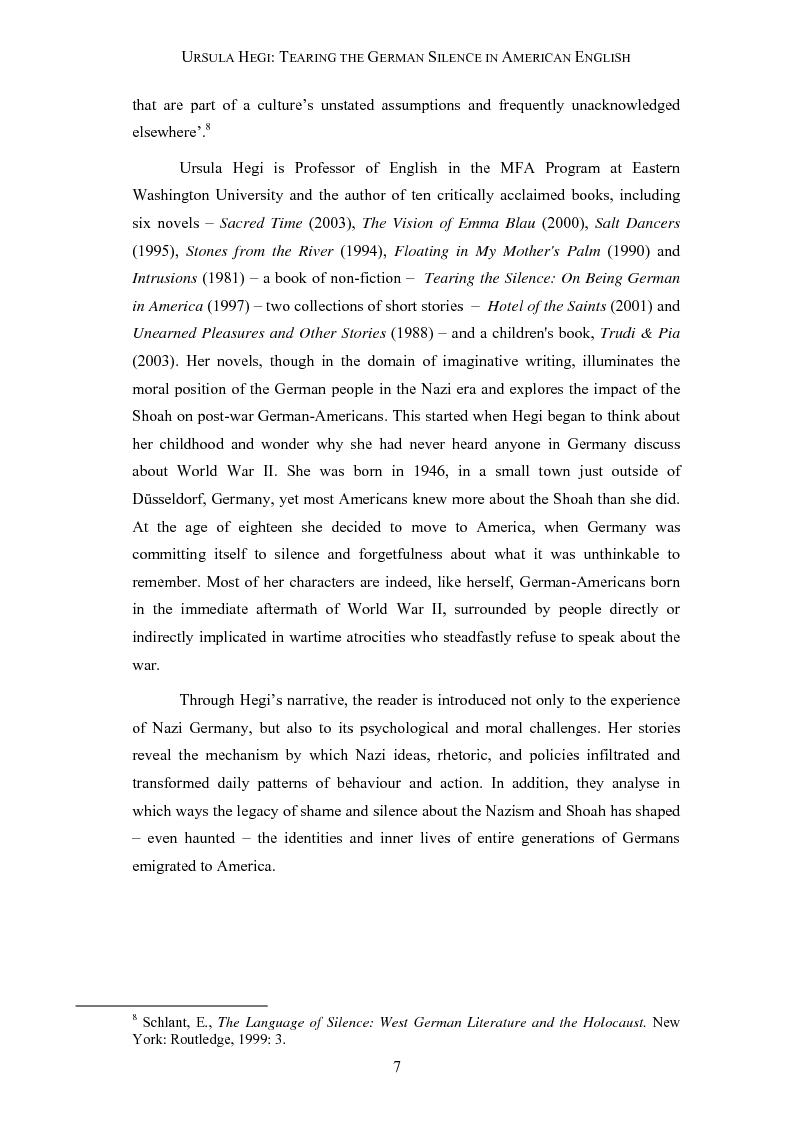 Anteprima della tesi: Ursula Hegi: Tearing the German Silence in American English, Pagina 4