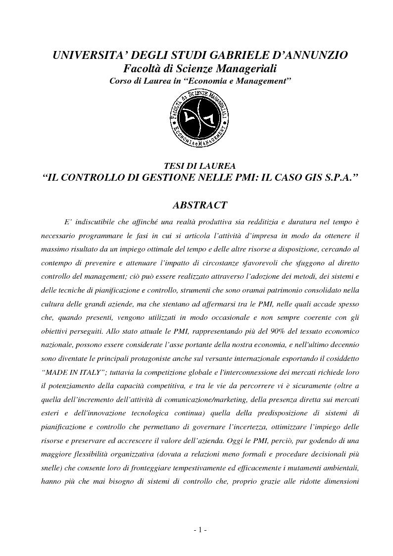 Anteprima della tesi: Il controllo di gestione nelle PMI: il caso GIS S.p.A., Pagina 1