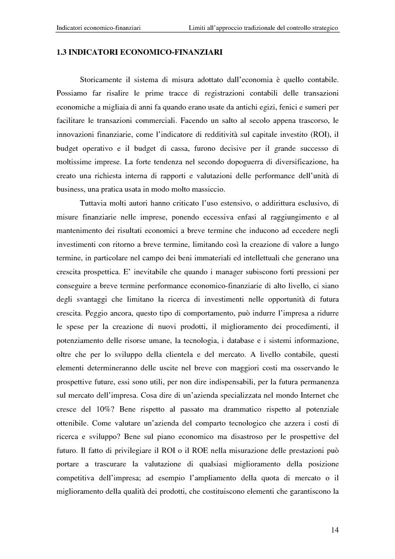 Anteprima della tesi: Dalla strategia ai comportamenti: la Balanced Scorecard come sistema di valutazione delle prestazioni, Pagina 14