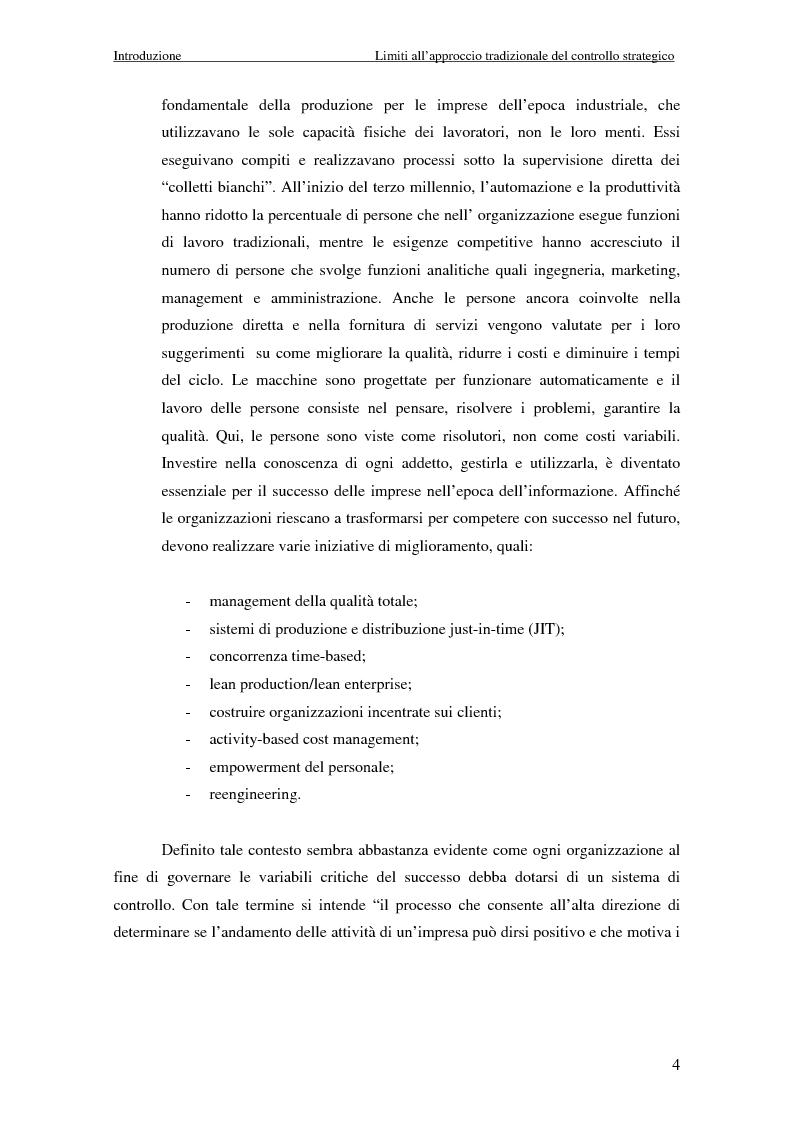 Anteprima della tesi: Dalla strategia ai comportamenti: la Balanced Scorecard come sistema di valutazione delle prestazioni, Pagina 4
