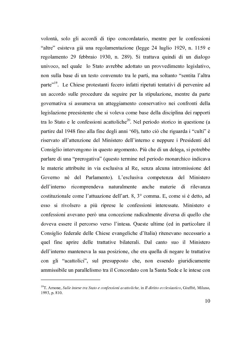 Anteprima della tesi: La posizione delle confessioni religiose all'interno del procedimento di intesa, Pagina 10