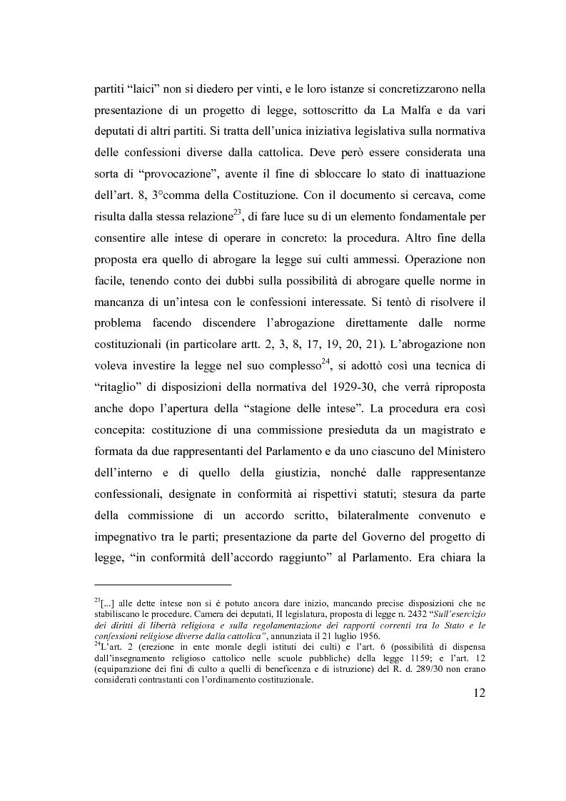 Anteprima della tesi: La posizione delle confessioni religiose all'interno del procedimento di intesa, Pagina 12