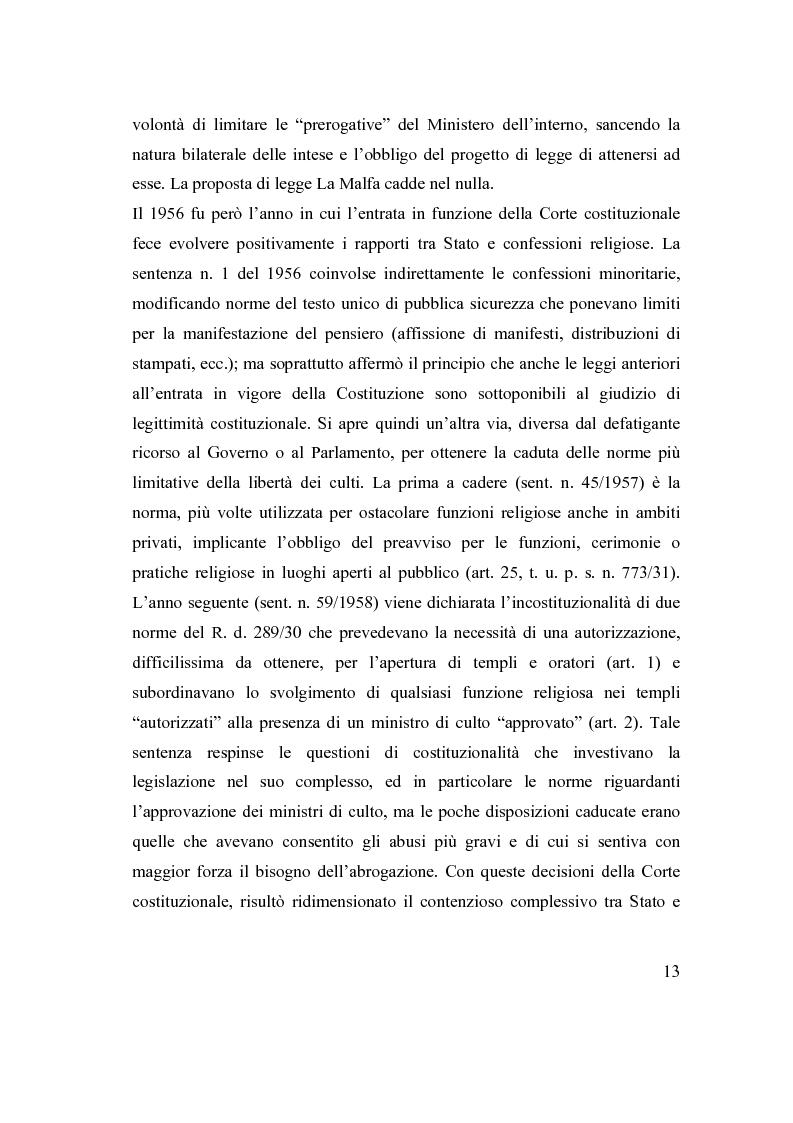 Anteprima della tesi: La posizione delle confessioni religiose all'interno del procedimento di intesa, Pagina 13