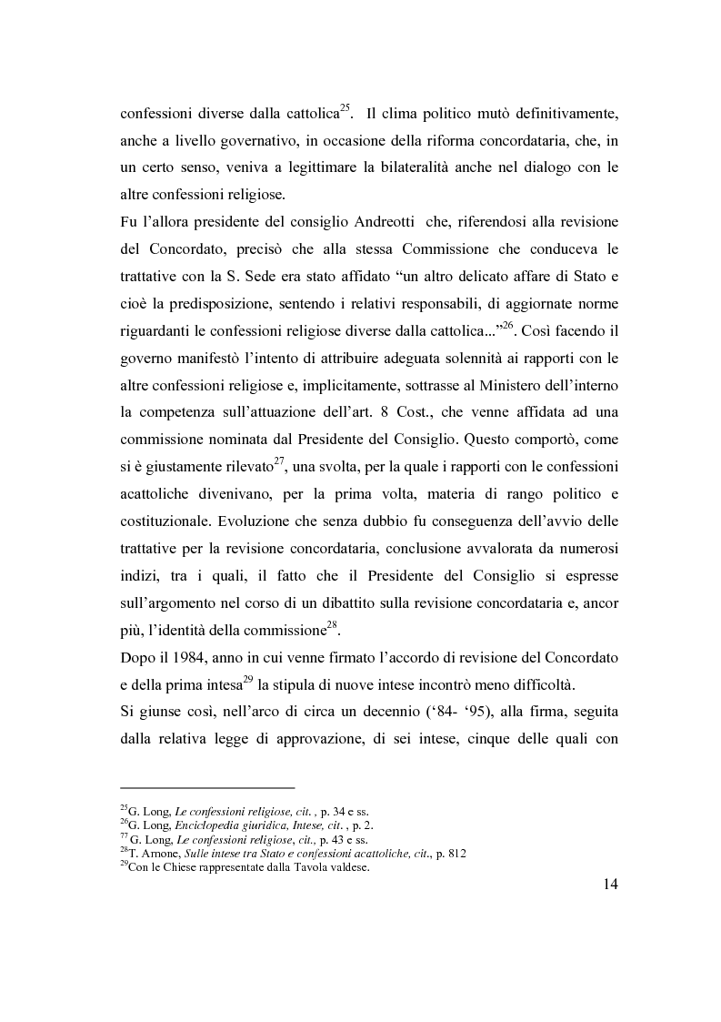 Anteprima della tesi: La posizione delle confessioni religiose all'interno del procedimento di intesa, Pagina 14