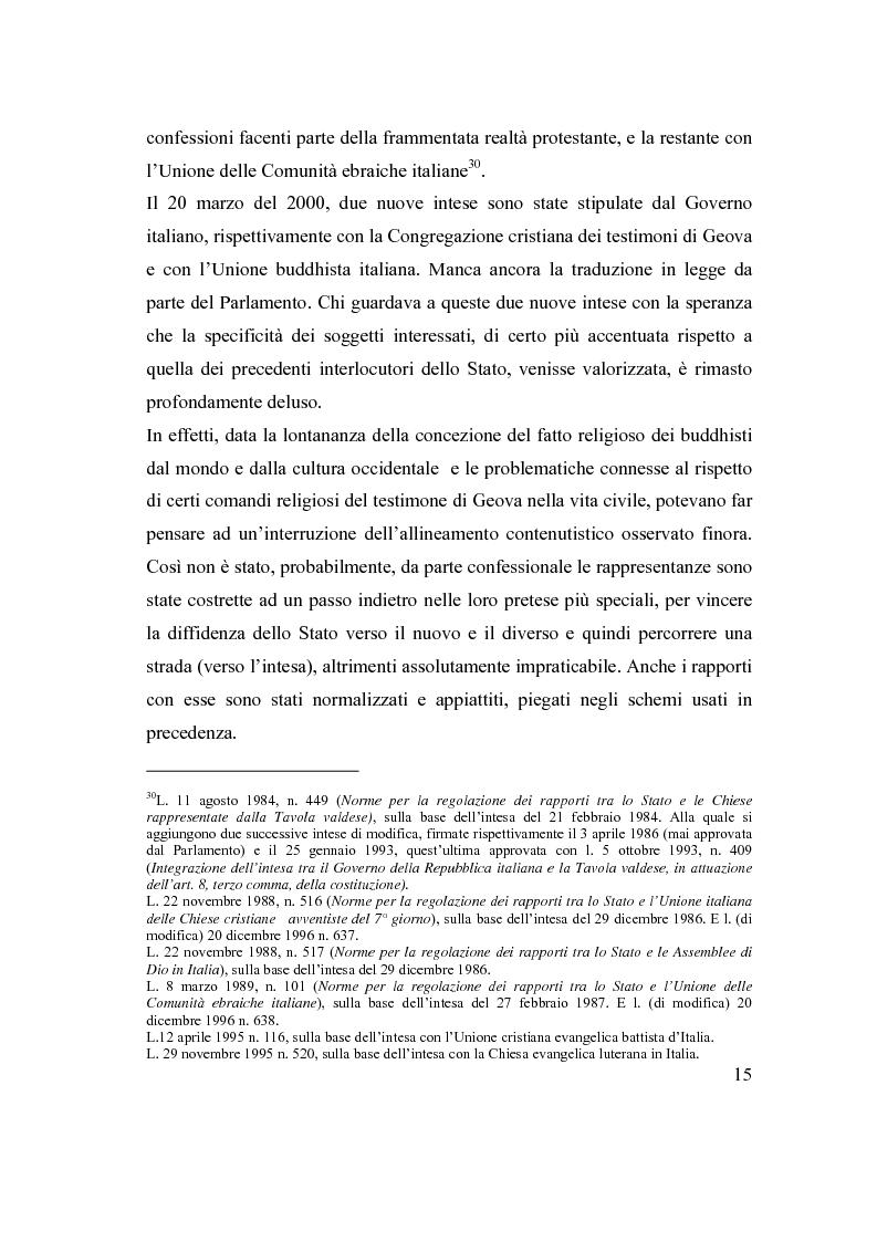 Anteprima della tesi: La posizione delle confessioni religiose all'interno del procedimento di intesa, Pagina 15