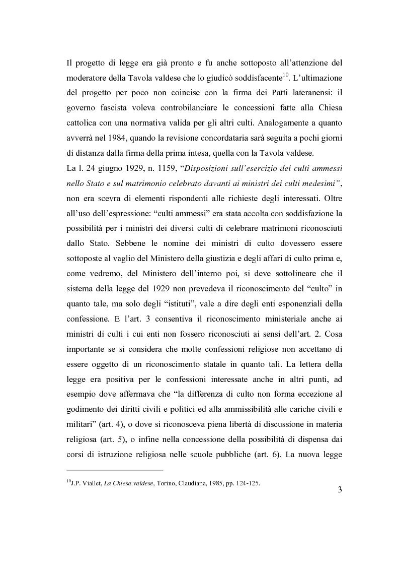 Anteprima della tesi: La posizione delle confessioni religiose all'interno del procedimento di intesa, Pagina 3