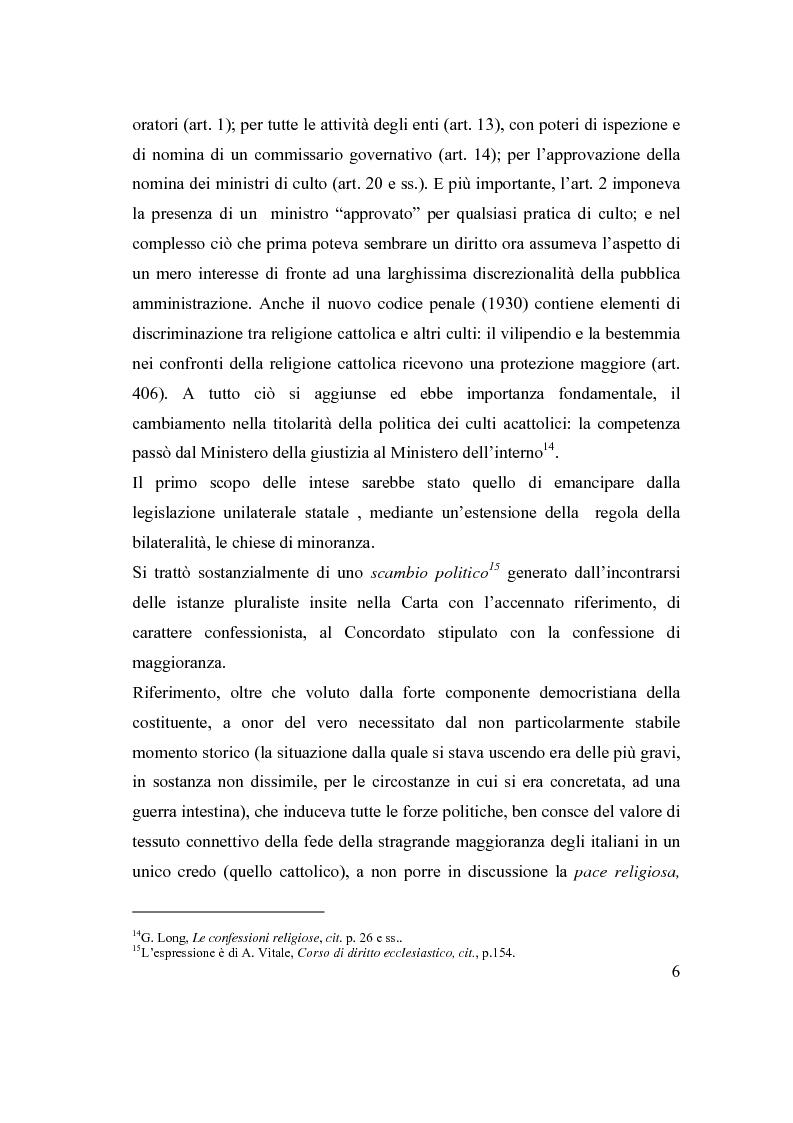 Anteprima della tesi: La posizione delle confessioni religiose all'interno del procedimento di intesa, Pagina 6