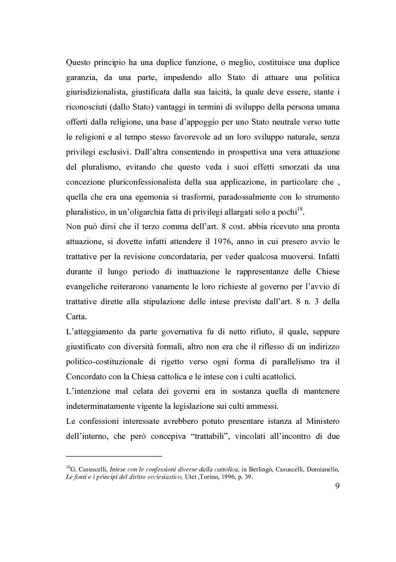 Anteprima della tesi: La posizione delle confessioni religiose all'interno del procedimento di intesa, Pagina 9