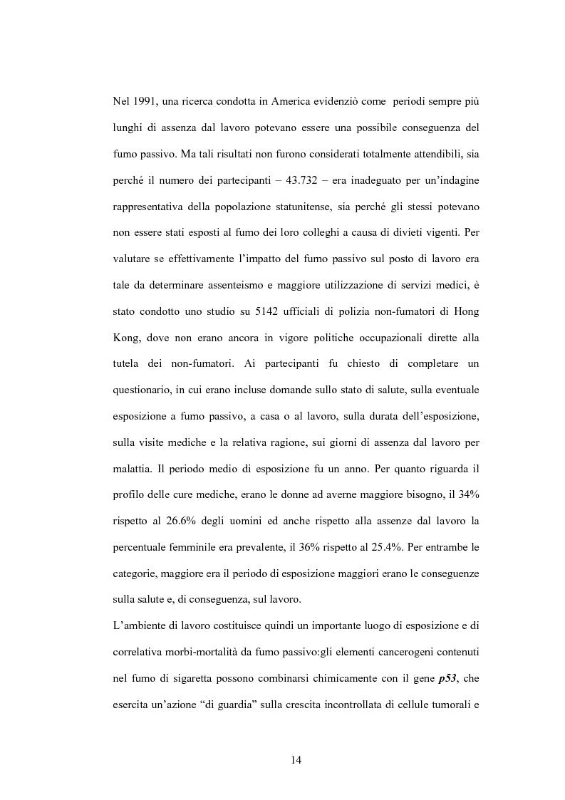 Anteprima della tesi: Fumo passivo e ambiente di lavoro: quadro medico, normativo e orientamenti giurisprudenziali, Pagina 14