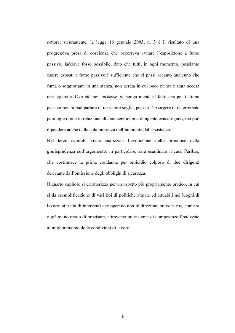 Anteprima della tesi: Fumo passivo e ambiente di lavoro: quadro medico, normativo e orientamenti giurisprudenziali, Pagina 6