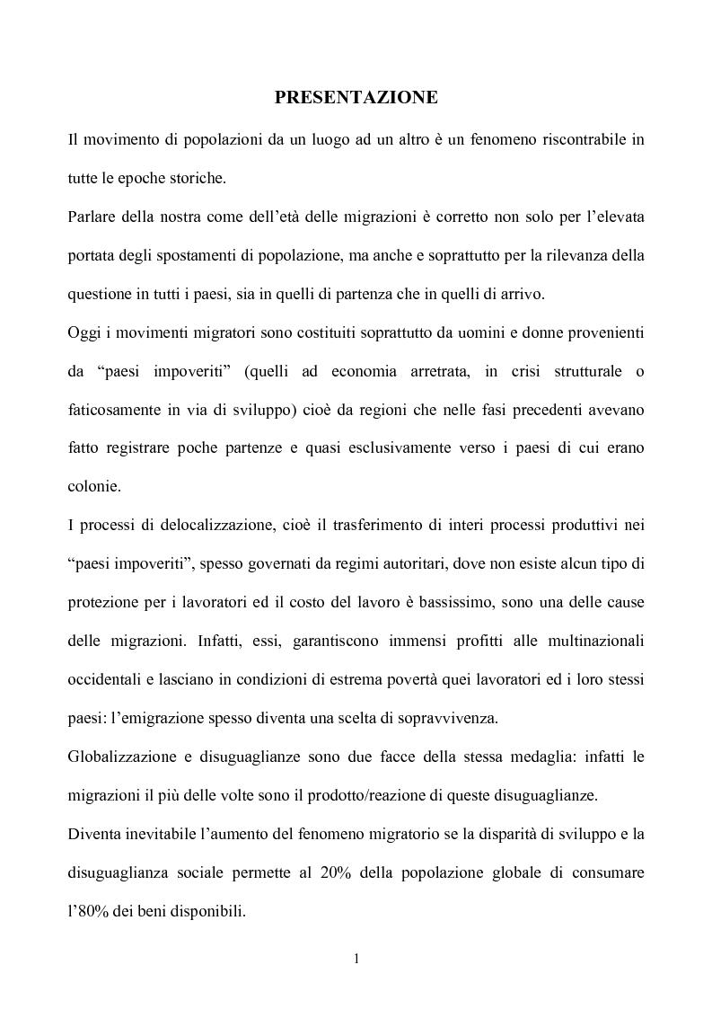 Anteprima della tesi: La condizione giuridica dello straniero nell'ordinamento italiano, Pagina 1