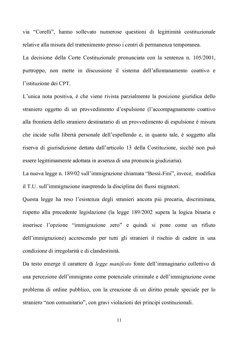 Anteprima della tesi: La condizione giuridica dello straniero nell'ordinamento italiano, Pagina 11