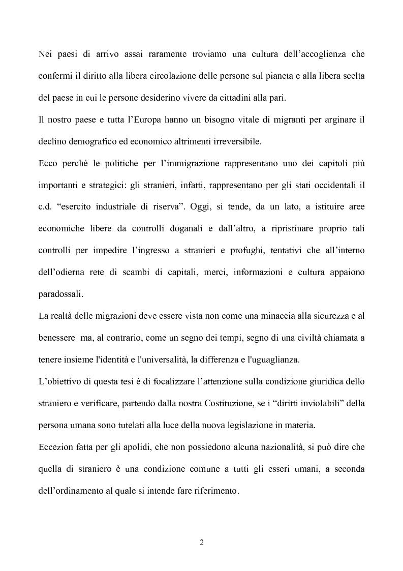 Anteprima della tesi: La condizione giuridica dello straniero nell'ordinamento italiano, Pagina 2