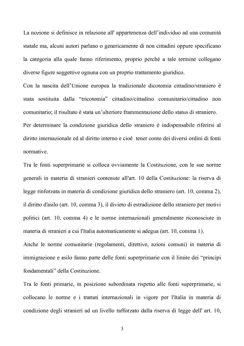 Anteprima della tesi: La condizione giuridica dello straniero nell'ordinamento italiano, Pagina 3