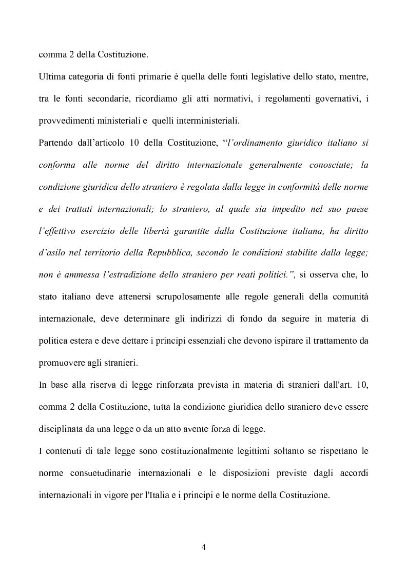 Anteprima della tesi: La condizione giuridica dello straniero nell'ordinamento italiano, Pagina 4