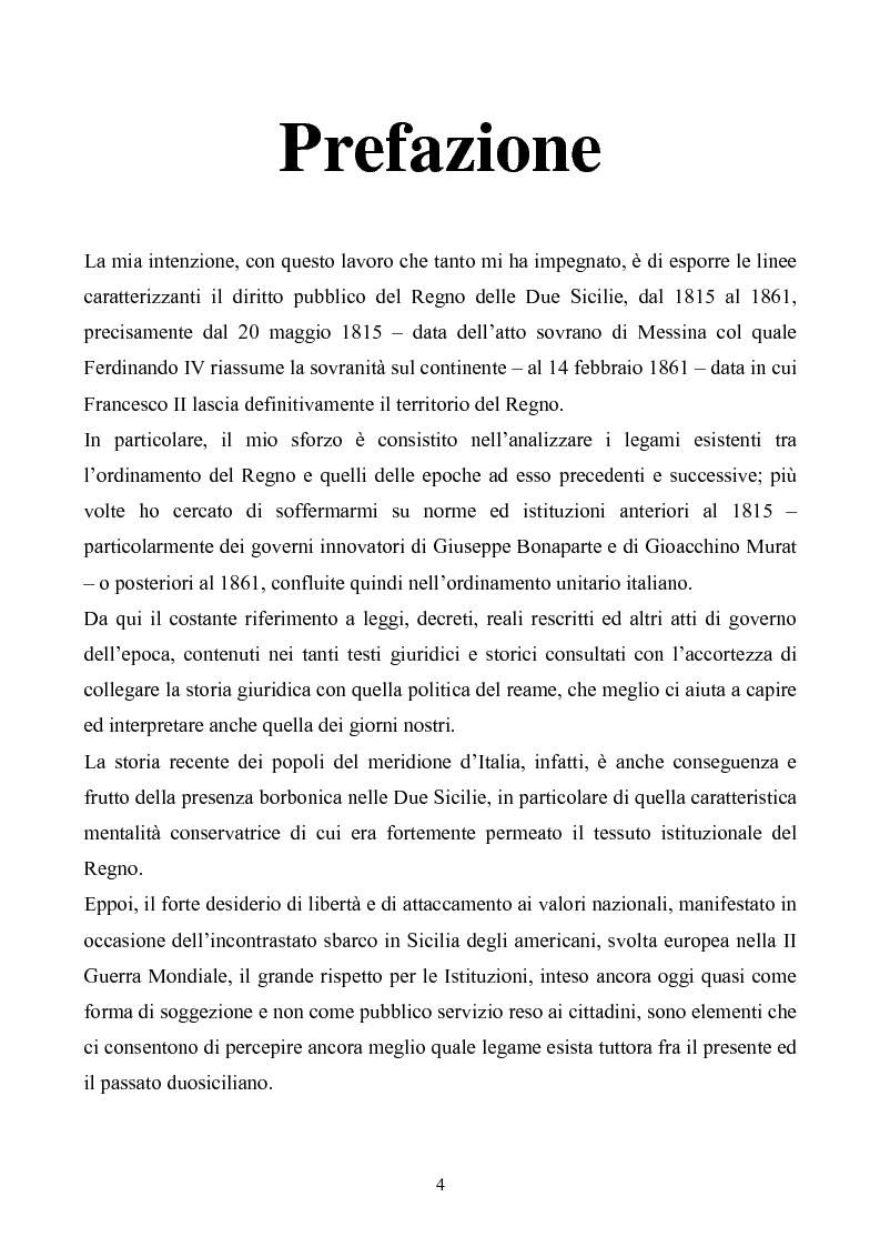 Anteprima della tesi: Le istituzioni politiche ed amministrative nel Regno delle Due Sicilie dal 1815 al 1860, Pagina 1