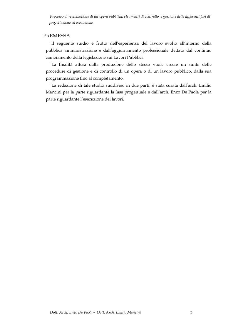 Anteprima della tesi: Il processo di realizzazione di un'opera pubblica: Strumenti di controllo e gestione delle differenti fasi di progettazione ed esecuzione, Pagina 1
