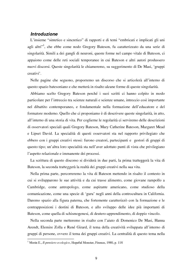 Anteprima della tesi: Forme amorfe in un campo vitale: i gruppi creativi nella vita e nel pensiero di Gregory Bateson, Pagina 1
